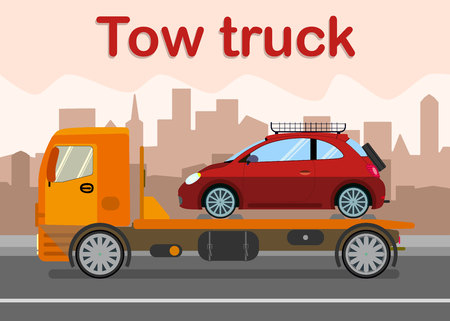 Towing, Evacuation Company Banner Flat Template. Car Wrecker Loaded with Broken Vehicle Vector Illustration. City Evacuator Service Advertising Typography. Express Roadside Assistance