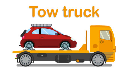 Vehicle Evacuation Company Banner Flat Template. Tow Truck Carrying Passenger Auto Isolated Illustration. Evacuator, Car Wrecker, Lorry Transportation Typography. Broken Automobile Rescue