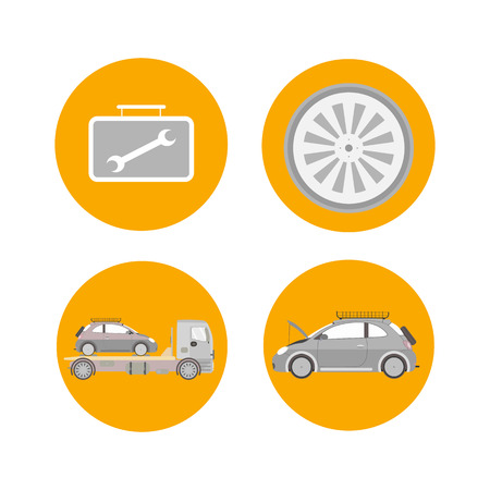 Car Services Range Flat Isolated Illustrations. Tire Fitting, Replacement. Comprehensive Vehicle Diagnostics, Examination, Maintenance. Automobile Towing, Transportation, Evacuation Option Illustration