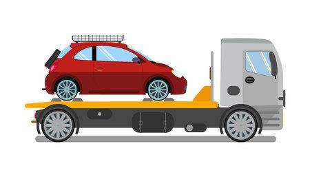 Dépanneuse, camion au travail Illustration vectorielle plane. Evacuateur isolé, naufrageur de voiture. Service d'évacuation de véhicule cassé. Transport express d'automobiles endommagées. Panne de moteur, solution de panne Vecteurs