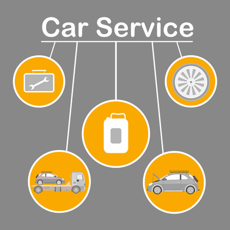 Car Service Options Flat Vector Banner Template. Wide Range Vehicle Maintenance Social Media Post Layout. Auto Repair Isolated Illustrations in Round Frames. Tire Fitting, Towing, Oil Replacement