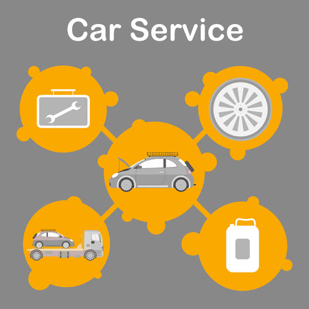 Car Service Station Promotion Flat Banner Template. Auto Maintenance Advertising Social Media Post Layout. Vehicle Repair Options Isolated Illustrations in Round Frames. Tire Replacement, Towing Illustration