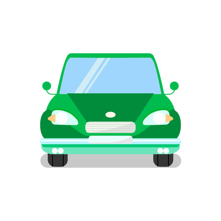 Green Car, Automobile Flat Vector Illustration. Vehicle, Passenger Transportation Means. Retro Automobile. Clean, New Sedan Auto Front View. Transport Industry, City Traffic Isolated Design Element