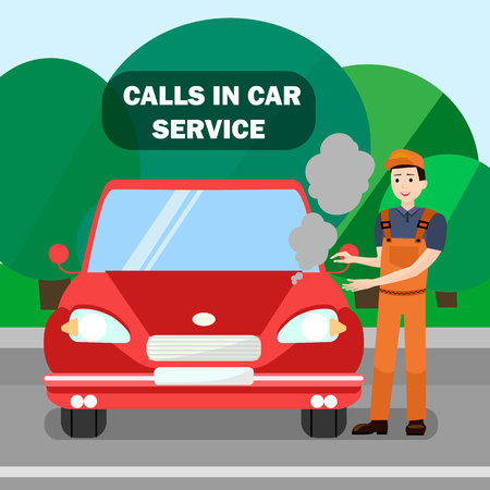 Mechanic, Vehicle Breakdown Flat Banner Template. Call in Car Service Typography. Car, Automobile with Overheated Engine. Cartoon Repairman Checking Motor Problem Vector Illustration Illustration