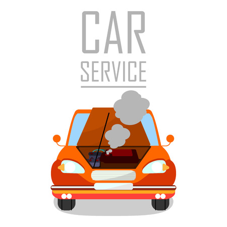Car Service for Overheated Engine Banner Template. Cartoon Automobile with Open Bonnet, Hood. Steaming Motor Flat Vector Illustration. Vehicle Breakdown Typography. Poster Design Element Иллюстрация