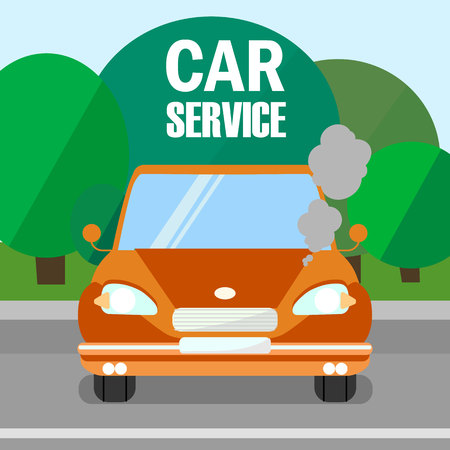 Car Service, Engine Maintenance Banner Template. Cartoon Broken Automobile in Road Flat Vector Illustration. Vehicle Diagnostics Typography. Motor Problems Fixing Poster Design Layout
