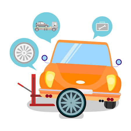 Car Service Tire Replacement Vector Illustration. Vehicle Breakdown. Automobile Tyre Changing. Cartoon Auto Lifting Jack Equipment. Wheel Disk, Wrench in Toolbox, Tow Tractor Isolated Icons
