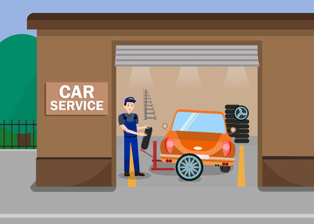 Car Services Station Flat Vector Illustration. Repairman, Mechanic, Worker in Uniform Cartoon Character. Tire Fitting Expert at Work. Retro Automobiles Renewal Advert Banner Typography Stock Illustratie