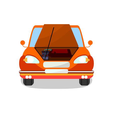 Engine Diagnostics, Repair Vector Illustration. Cartoon Car with Open Bonnet, Hood. Professional Motor Maintenance, Battery, Accumulator Inspection. Vehicle Breakdown, Malfunction Detection