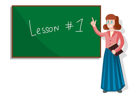 Cartoon Women Pointing with Finger at Blackboard in Classroom Teaching Pupils. Tutor, Educator at University Giving Lecture. Elementary School Education. First Lesson. Writting with Chalk. Stock Illustratie