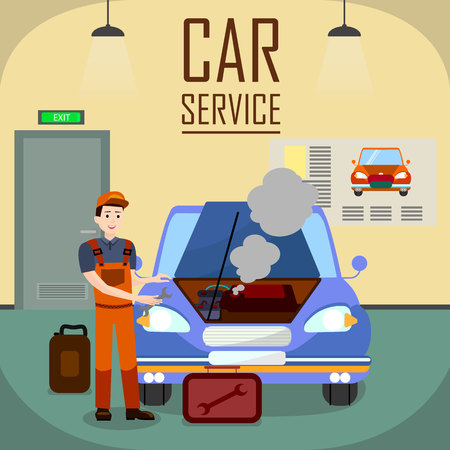 Auto Workshop Interior Vector Banner Template. Expert Car Service Typography. Vehicle Engine Failure Flat Illustration. Young Repairman, Mechanic Holding Spanner, Wrench Cartoon Character