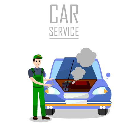 Vehicle Breakdown Trouble Flat Banner Template. Professional Car Service Typography. Cartoon Repairman, Mechanic, Technician Fixing Motor Problem Vector Illustration. Automobile Engine Failure
