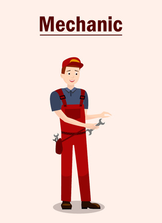 Car Service Expert Flat Vector Banner Template. Repairman Holding Wrench, Spanner. Technician, Engineer Wearing Uniform Cartoon Character. Vehicle Maintenance Station Worker, Staff, Personnel Vector Illustration
