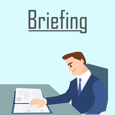 Business Briefing Concept Banner Vector Illustration. Cartoon Man in Formal Suit Reading Documents Report. Character Sitting at Table and Analysing Financial Strategies and Decisions.