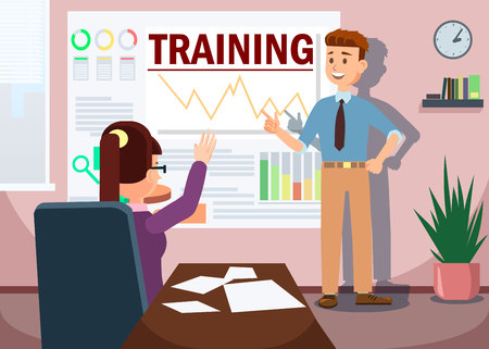 Training Concept Banner Vector Illustration. Business Man Teacher Giving Employee Person Lecture or Presentation at Board Room. Woman Raising Hand. Boss Showing Diagram Pointing at Whiteboard. 矢量图像