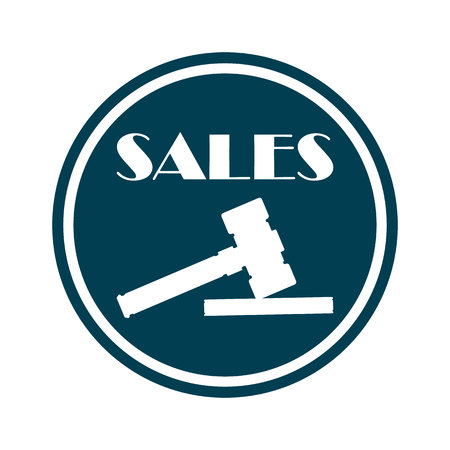 Sales Icon with Wooden Hammer or Gavel Banner Vector Illustration. Making Purchases with Bidds by Hitting with Gavel. Auction House for Buying Things, Goods. Commercial Deals and Bargain.