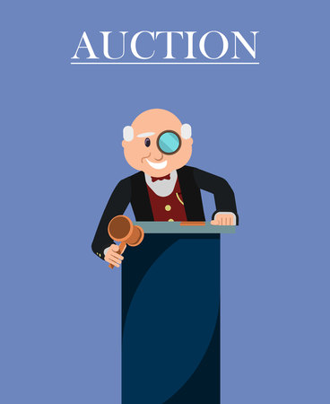 Old Man Auctioneer with Wooden Gavel or Hammer and Monocle in Auction House Poster. Auctioneer Announcing Prices to Participants Vector Illustration. Selling Goods and Property to Clients. Ilustración de vector