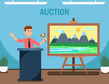 ガヴェル販売風景画ベクトルイラストを持つ競売人。商品やサービスの売買、入札バナーの提供。ハンマーを保持する男とオークションハウス。アートギャラリーでの販売。
