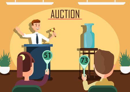 Selling Expensive Antique Vase Banner. Auction Public SalePotential Buyers Making Higher Bids to Get Goods and Property, Participants and Auctioneer Announcing Prices with Gavel Vector Illustration.