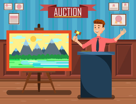 Auction with Man Holding Gavel Banner Vector Illustration. Auction Business, Bid and Sale, Trade Commercial. Sales and Discounts in Art Gallery. Selling Landscape Painting Lot of Mountains. Иллюстрация