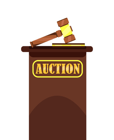 Auction Wooden Hammer and Stand Poster. Offering for Bid Vector Illustration. Auction House. Element for Auctions that Helps to Sell Things or Services by Hitting. Commercial Deals.