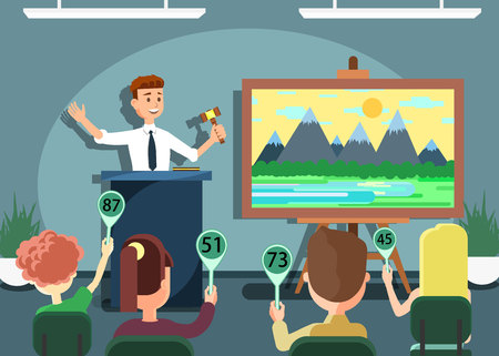 Auction Public Sale Banner. Selling Landscape Painting. Potential Buyers Making Higher Bids to Get Goods and Property, Participants and Auctioneer Announcing Prices with Gavel Vector Illustration.