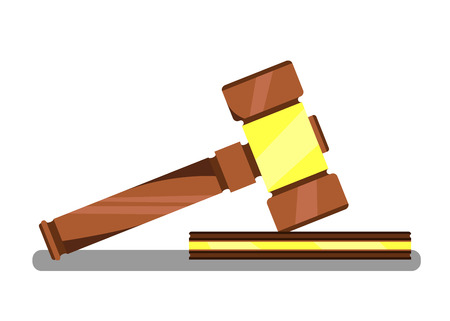 Gavel for Auction Banner Vector Illustration. Wooden judge ceremonial hammer of chairman for adjudication of sentences and bills, court, justice. Legal law and auction symbol. Selling and buying.