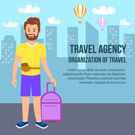 Bannière carrée d'agence de voyage. Jeune homme barbu portant des vêtements d'été avec un sac à main sur la taille et des bagages à la main sur fond de paysage urbain. Les montgolfières volent dans le ciel. Illustration vectorielle plane de dessin animé.