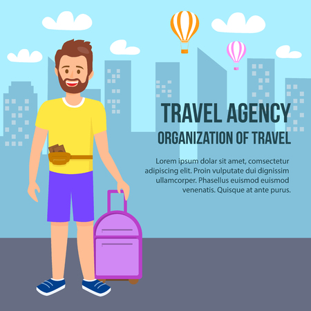 Travel Agency Square Banner. Young Bearded Man Wearing Summer Clothing with Purse on Waist and Luggage in Hand Stand on Cityscape Background. Air Balloons Fly in Sky. Cartoon Flat Vector Illustration.