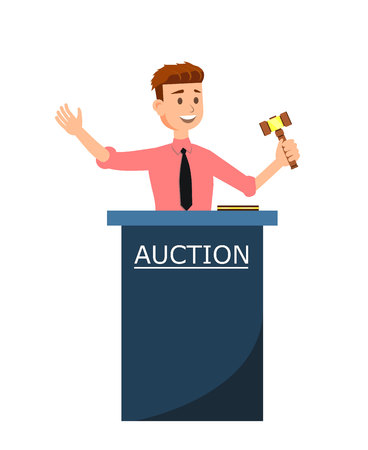 Auction House and Bidding Concept Poster. Young Smiling Cartoon Man Auctioneer with Gavel Vector Illustration. Professional Auction Business. Trade Commercial. Highest Bidder in Final Lift. Illustration