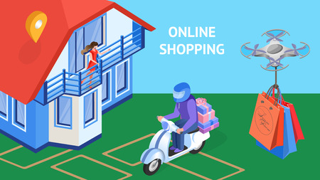 Online Shopping Express Delivery Banner Template. Cartoon Woman Waving Hand. Courier on Scooter Carrying Gift Boxes to Geotag Location. Drone, Unmanned Aerial Vehicle Transporting Shopping Bags
