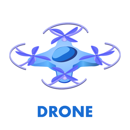 Unmanned Aerial Vehicle Isometric Illustration. Isolated Aircraft with four Propellers. Flat Drone, UAV for Spying, Photographing. Express Delivery Equipment. Flying Hi-Tech Aero Transportation Device Vektorové ilustrace
