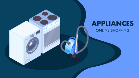 Domestic Appliances Shop Isometric Banner Template. Online Store, Supermarket Typography. Realistic Washing Machine, Oven, Vacuum Cleaner Illustrations. Household Electronics Poster Design