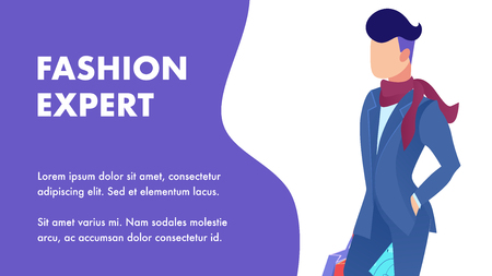 Fashion Expert Tips Service Flat Banner Template. Elegant Male Consultant Cartoon Character. Clothes Choice Advice Lettering,Text Space. Professional Imagemaker, Influencer. Advertising Poster Design Illustration