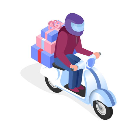 Scooter Driver with Gifts Isometric Illustration. Courier, Delivery Guy on Motorbike Cartoon Character. Realistic 3d Presents, Boxes with Ribbons. Gift Shop, Store Purchase Transportation Service