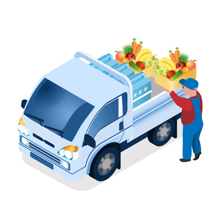 Delivery Worker Loading Box Isometric Illustration. 3d Van with Containers, Cool-Boxes. Realistic Fresh Vegetables, Herbs, Fruits. Supermarket, Grocery Store Food Products Orders Transportation
