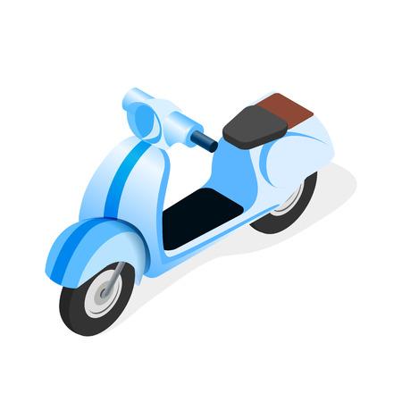 Scooter, moto, bicicleta ilustración isométrica. Vehículo de dos ruedas 3d realista. Opción de entrega rápida y rápida. Conveniente transporte urbano y urbano. Modelo de motocicleta azul de vista lateral plana Ilustración de vector