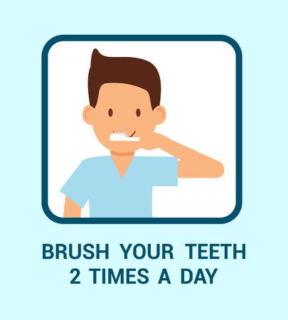 Zähneputzen zweimal pro Tag Web-Banner-Konzept. Junger Mann mit Zahnbürste-Cartoon-Figur. Dental Health Care Empfehlung Illustration mit Typografie. Motivierendes Poster für einen gesunden Lebensstil