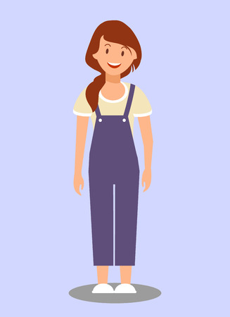 Beautiful Cheerful Woman Flat Vector Illustration. Young Lady in Casual Clothing Cartoon Character. Joyful Girl in Denim Overalls Isolated on Purple Background. Happy Female Fashion Model