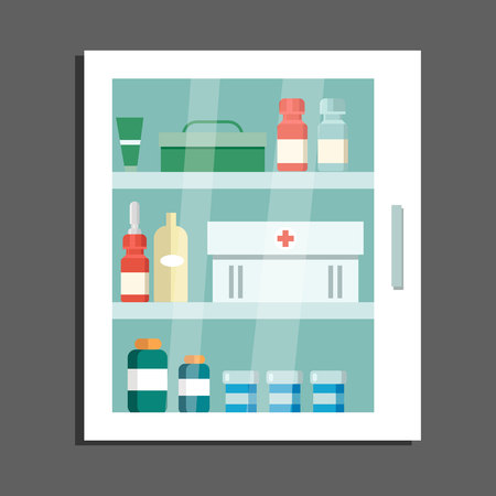 Locker with Medications Flat Vector Illustration. First Aid Kit, Treatment Drugs, Medical Supplies. Medicine for Disease, Illness cure. Pharmaceutical Products. Hospital Isolated Design Element Ilustração