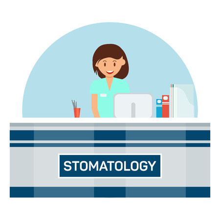 Stomatology Reception Flat Vector Illustration. Young Receptionist, Nurse Cartoon Character. Dental Clinic Banner Concept. Dentist Appointment, Dentistry, Orthodontic Treatment. Happy Assistant