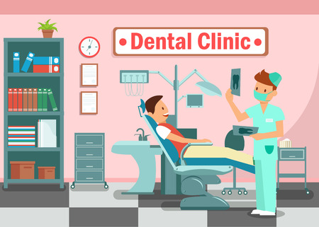 Dental Clinic, Teeth Treatment Flat Banner Concept. Happy Patient and Young Doctor Cartoon Characters. Hospital, Dentistry Illustration with Typography. Dentist Office Visit, Dental Health Checkup