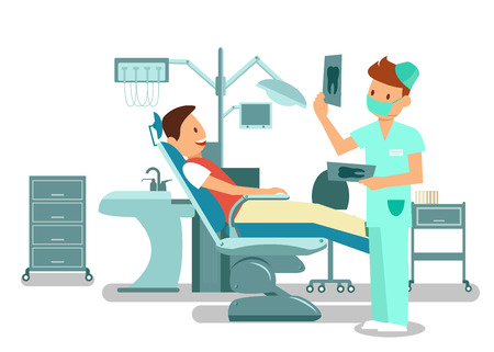 Teeth Checkup, Examination Vector Illustration. Cheerful Patient Sitting in Dental Chair and Young Dentist Cartoon Characters. Stomatology Visit, Dental Office Equipment. Orthodontic Treatment