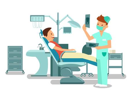 Zahn-Checkup, Prüfung-Vektor-Illustration. Fröhlicher Patient sitzt im Zahnarztstuhl und junge Zahnarzt-Cartoon-Figuren. Besuch in der Stomatologie, Ausstattung der Zahnarztpraxis. Kieferorthopädische Behandlung Vektorgrafik