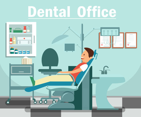 Stomatology Cabinet Flat Banner Vector Concept. Cheerful Man in Dental Chair Cartoon Character. Dental Clinic, Office Interior, Dentistry Equipment. Dentist Visit Illustration with Typography