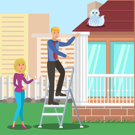 Man Saving Cat from Roof Flat Vector Illustration. Husband, Neighbor on Ladder Cartoon Character. Excited Feline Pet Owner Asking for Help, Favor. Friends, Spouses Rescue Fluffy Domestic Animal 일러스트