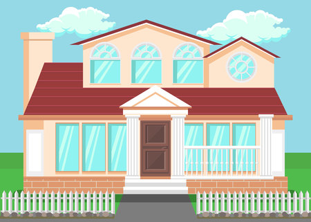 Luxury Countryside House Flat Vector Illustration. Detached Family House with Pillars, Columns. Hand Drawn Two-Storeyed Villa, Cottage Facade. Residential Building with Lawn, White Fence Illustration