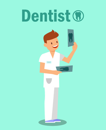 Dental Clinic, Stomatology Vector Banner Concept. Smiling Doctor Holding Tooth X ray Photograph Cartoon Character. Dentist Profession Flat Poster. Dentistry Illustration with typography Illusztráció