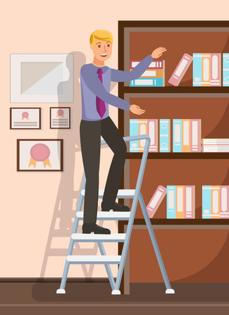 Office Worker Reaching Documents Flat Illustration. Cheerful Man, Boy Standing on Folding Steps Cartoon Character. Lawyer, Solicitor with Folders in Bookcase. Bookkeeper, Accountant Financial Reports