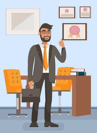 Geschäftsmann in der flachen Vektor-Illustration des Büros. Erfolgreiche männliche Geste. Manager, Rechtsanwalt, Bankier-Cartoon-Charakter. Arbeitsplatz Interieur. Professionelle Auszeichnungen, Zertifikate in Rahmen an der Wand